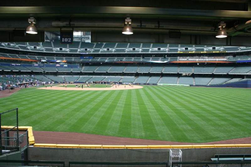 Seating view for Miller Park Section 102 Row 5 Seat Bench seat