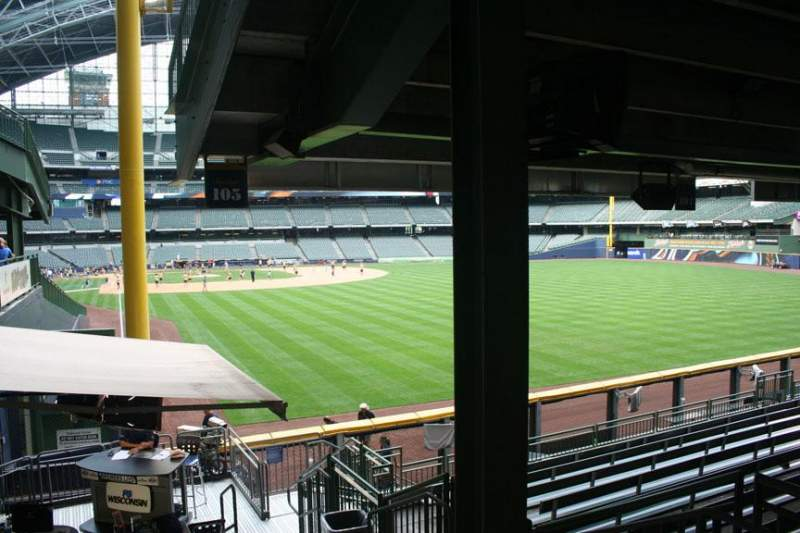 Seating view for Miller Park Section 105 Row 11 Seat Bench seat