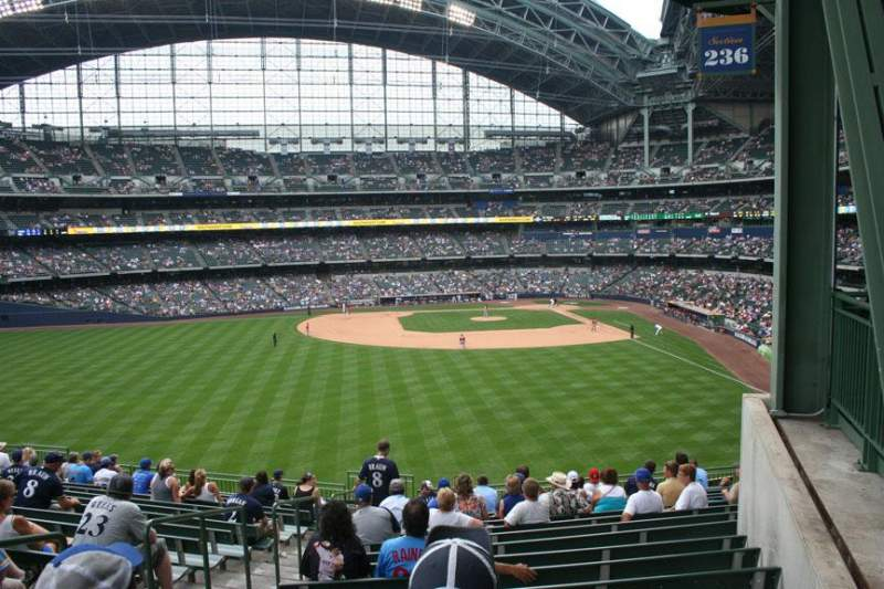 Seating view for Miller Park Section 236 Row 16 Seat Bench seat