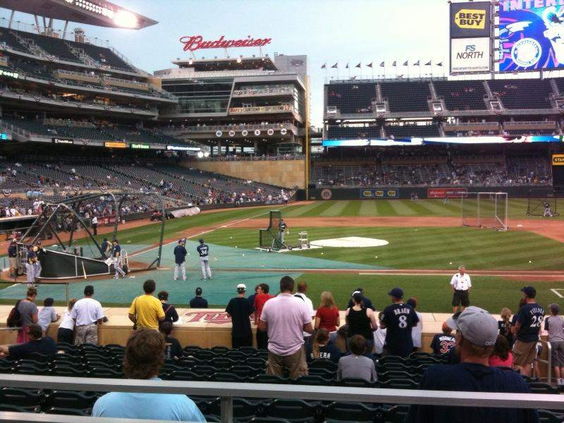 Seating view for Target Field Section 108 Row 2 Seat 10