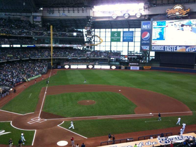 Seating view for Miller Park Section 323 Row 1 Seat 1
