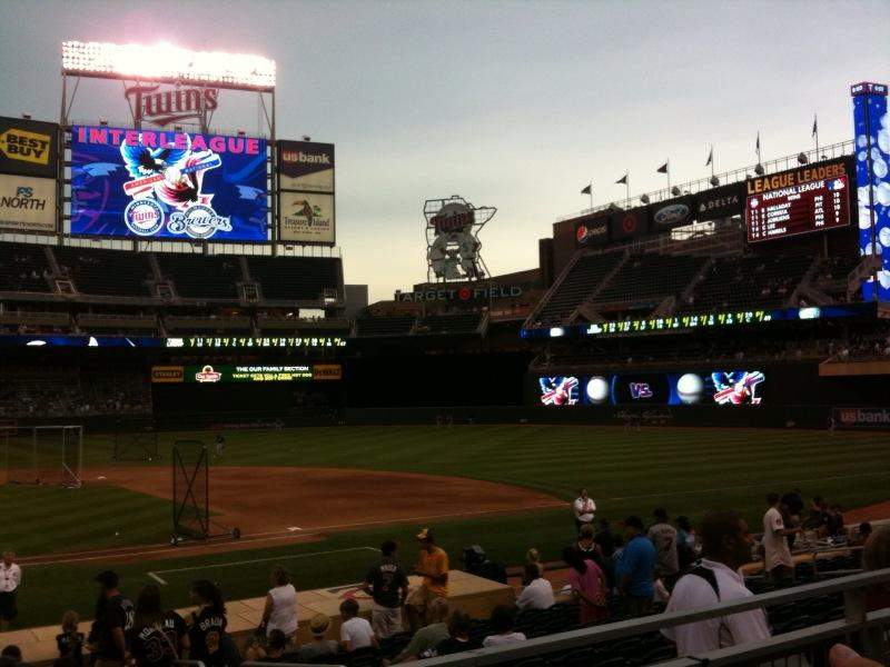 Seating view for Target Field Section 108 Row 2 Seat 11