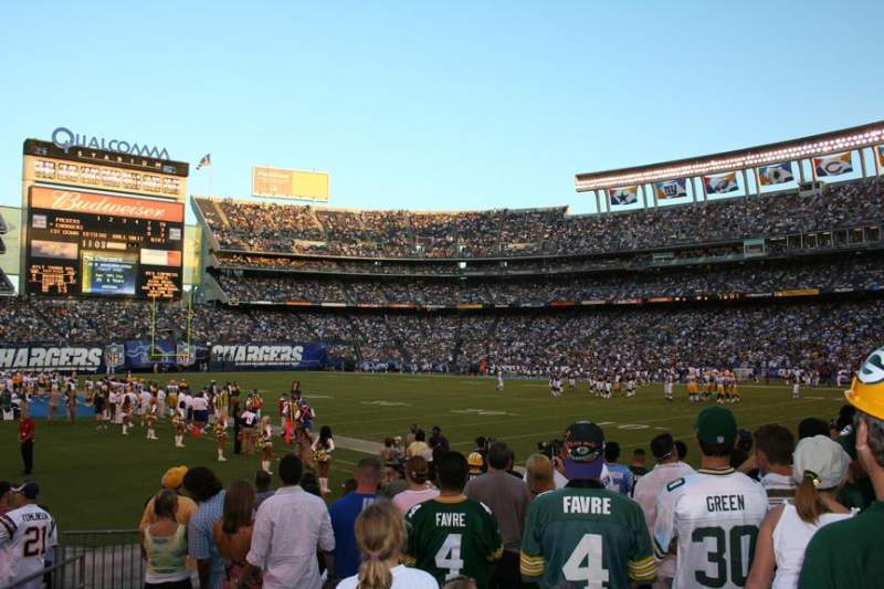 Seating view for Qualcomm Stadium Section F13 Row 12 Seat 2