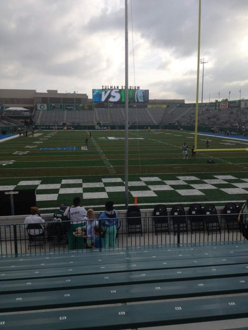 Seating view for Yulman Stadium Section 113 Row U Seat 18