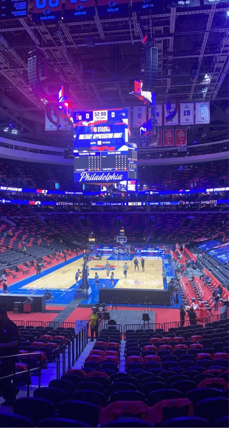 Seating view for Wells Fargo Center Section 120 Row 20 Seat 1