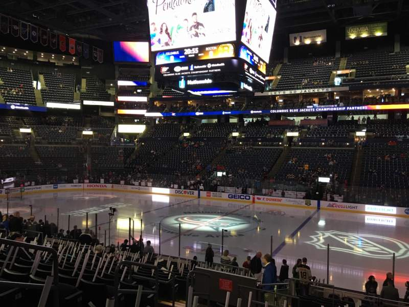Seating view for Nationwide Arena Section 113 Row U Seat 16