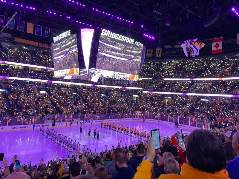Seating view for Bridgestone Arena Section 114 Row L Seat 15