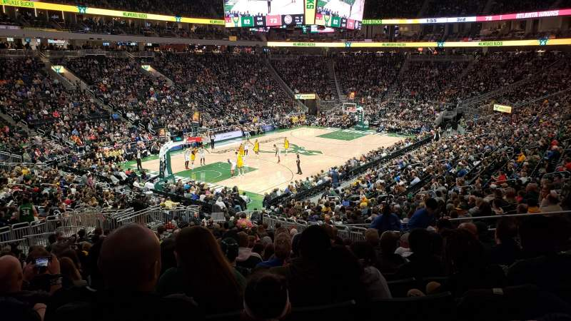 Seating view for Fiserv Forum Section 109 Row 26 Seat 10