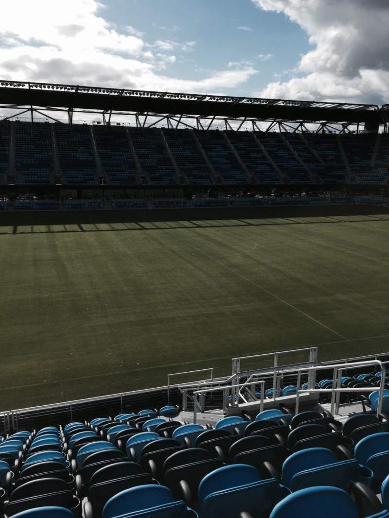Seating view for Avaya Stadium Section 104 Row 13 Seat 6