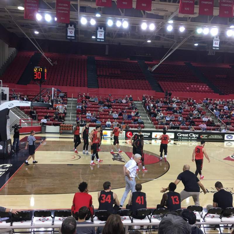 Seating view for John M. Belk Arena Section 12 Row E Seat 1
