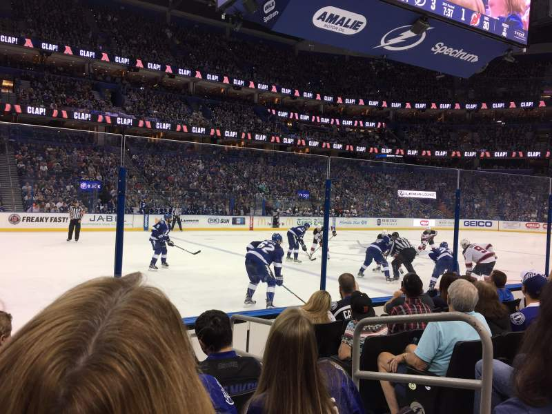 Seating view for Amalie Arena Section 118 Row F Seat 3