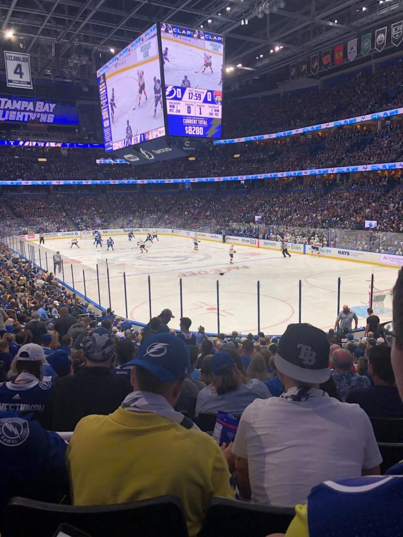 Seating view for Amalie Arena Section 110 Row W Seat 22
