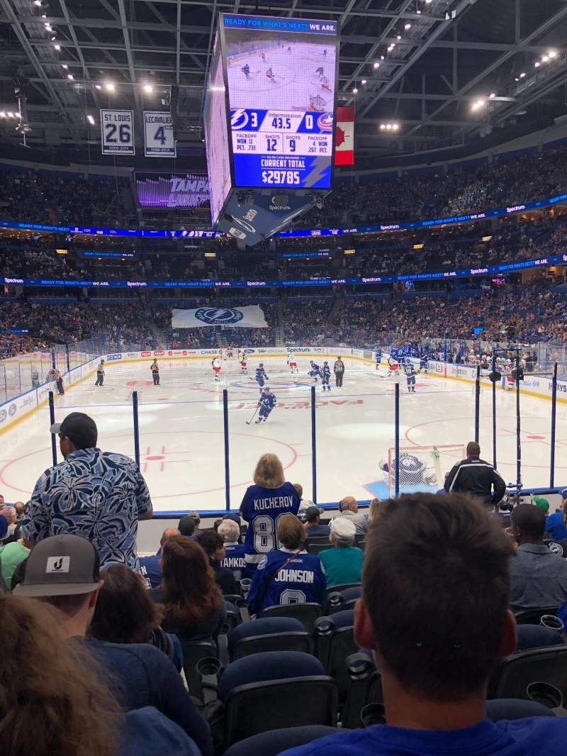 Seating view for Amalie arena Section 109 Row N Seat 12