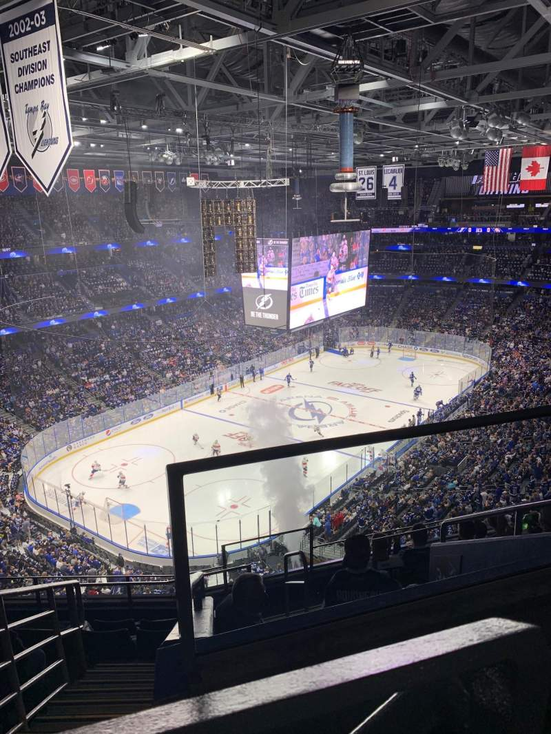 Seating view for Amalie Arena Section 306 Row H Seat 1