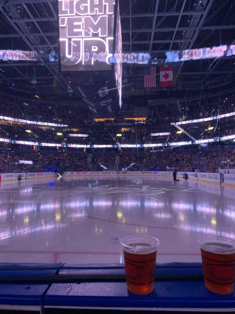 Seating view for Amalie Arena Section 108 Row A Seat 4