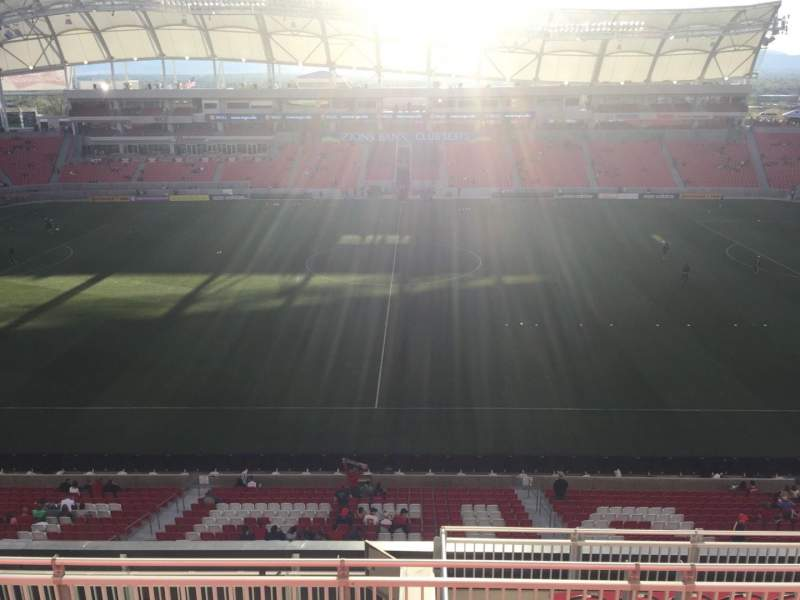 Seating view for Rio Tinto Stadium Section 201 Row H Seat 10