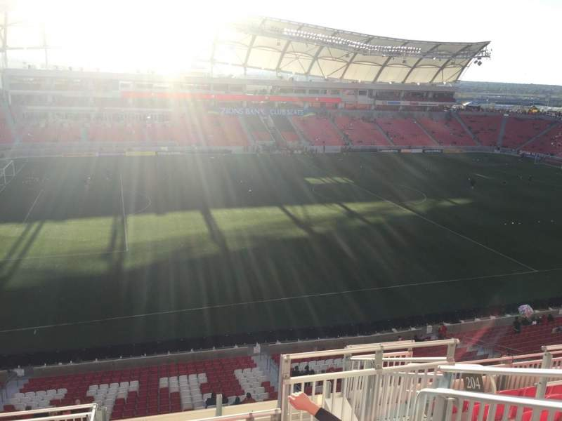 Seating view for Rio Tinto Stadium Section 204 Row H Seat 5