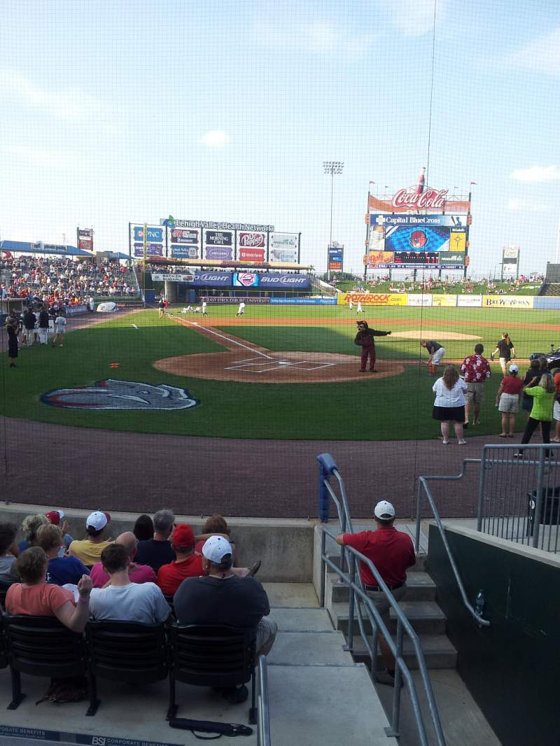 Seating view for Coca-Cola Park Section 110 Row 1 Seat 7