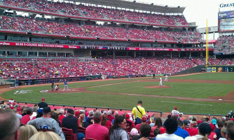 Seating view for Great American Ball Park Section 131 Row Y Seat 10