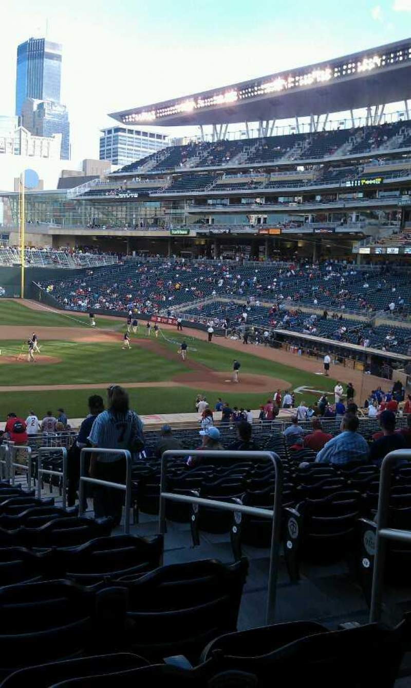 Seating view for Target Field Section 120 Row 22 Seat 3