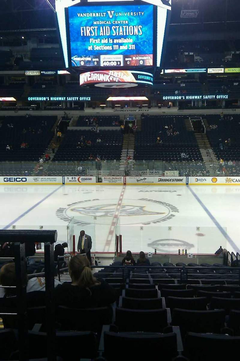 Seating view for Bridgestone Arena Section 116 Row H Seat 16