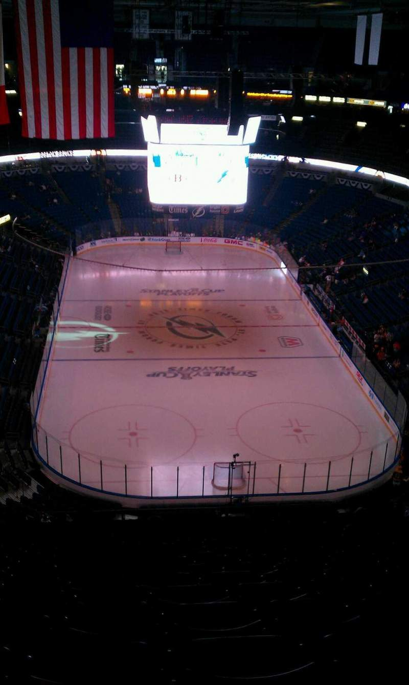 Seating view for Amalie Arena Section 309 Row R Seat 10