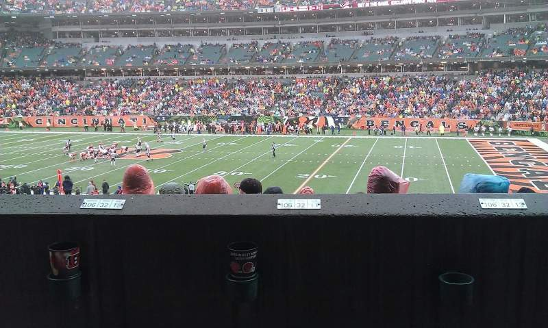 Seating view for Paul Brown Stadium Section 106 Row 32 Seat 14