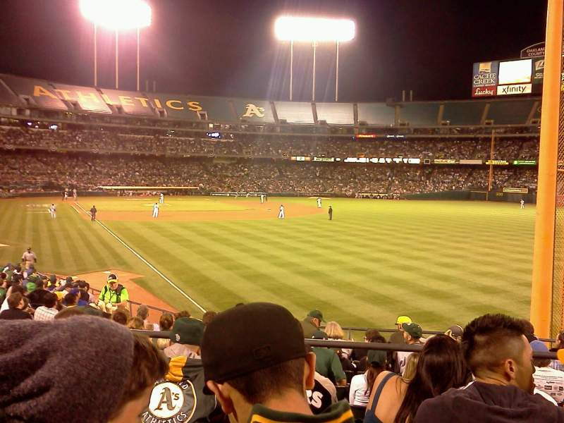 Seating view for Oakland Coliseum Section 103 Row 24 Seat 10