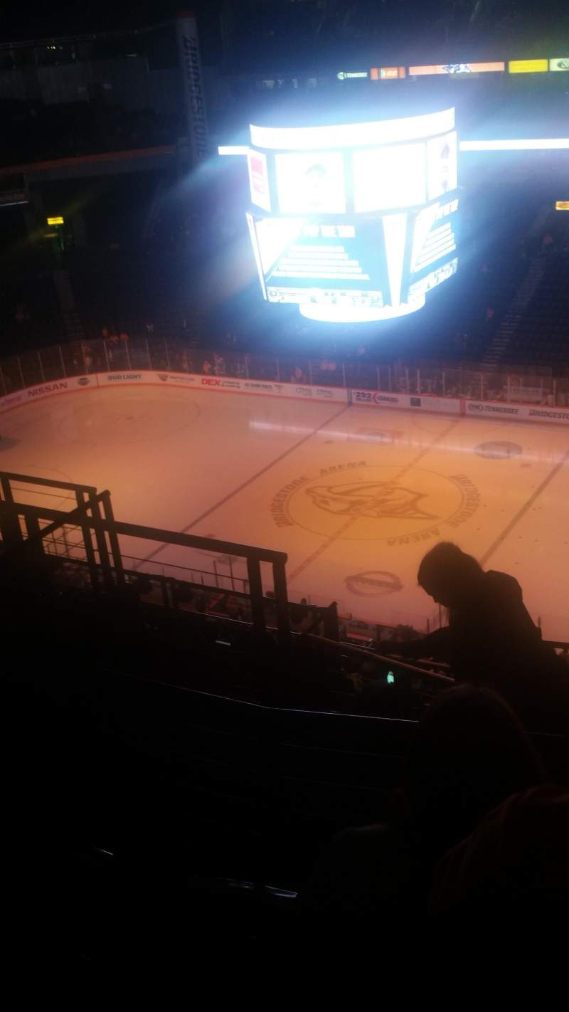 Seating view for Bridgestone Arena Section 328 Row L Seat 16