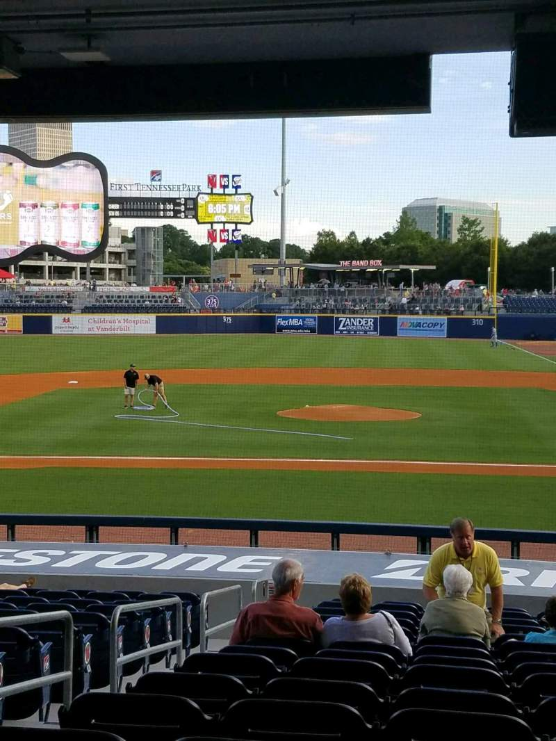 Seating view for First Tennessee Park Section 111 Row V Seat 14