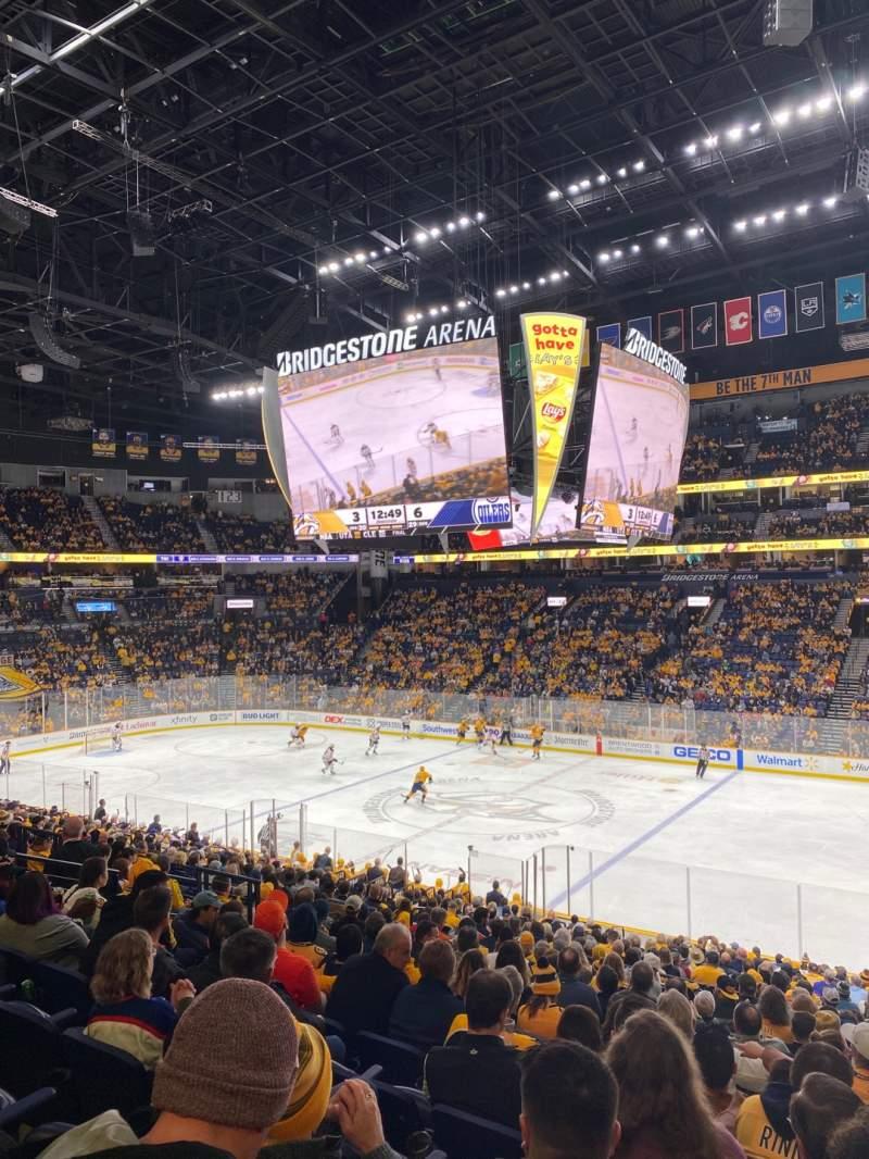Seating view for Bridgestone Arena Section 117 Row P Seat 8