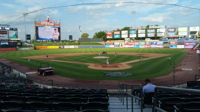 Seating view for Coca-Cola Park Section 113 Row V Seat 1