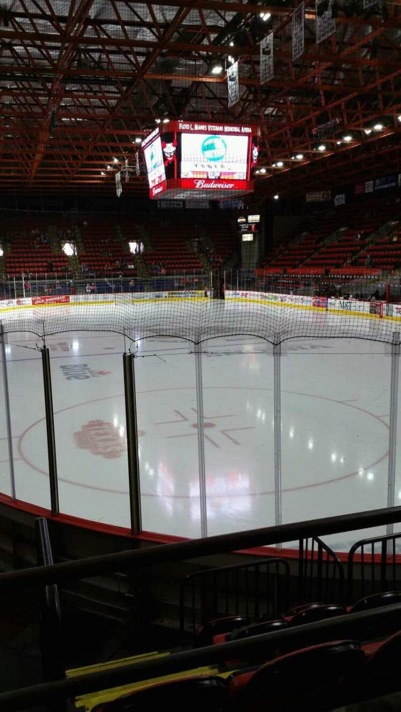 Seating view for Floyd L. Maines Veterans Memorial Arena Section 23 Row B Seat 14