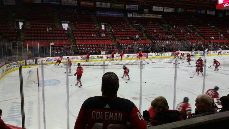 Seating view for Floyd L. Maines Veterans Memorial Arena Section 4 Row B Seat 11