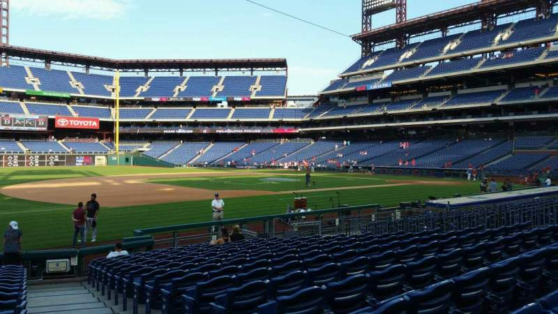 Seating view for Citizens Bank Park Section 134 Row 17 Seat 1
