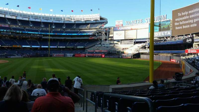 Seating view for Yankee Stadium Section 109 Row 15 Seat 1