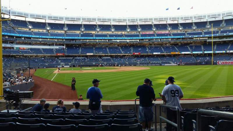 Seating view for Yankee Stadium Section 107 Row 9 Seat 1
