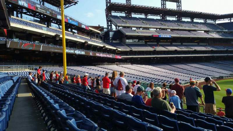 Seating view for Citizens Bank Park Section 104 Row 8 Seat 1