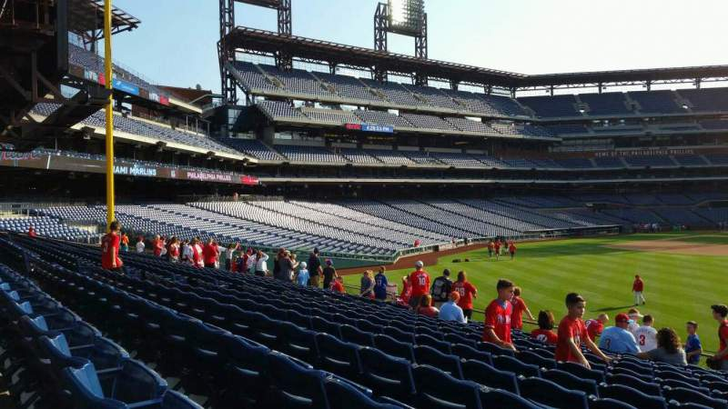 Seating view for Citizens Bank Park Section 103 Row 13 Seat 1