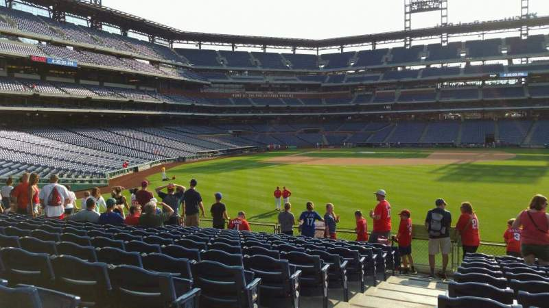 Seating view for Citizens Bank Park Section 103 Row 13 Seat 22