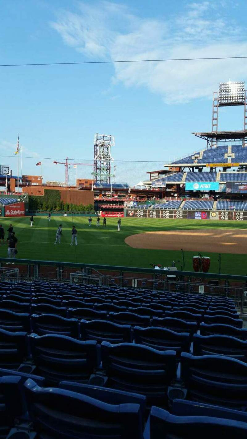 Seating view for Citizens Bank Park Section 132 Row 13 Seat 1