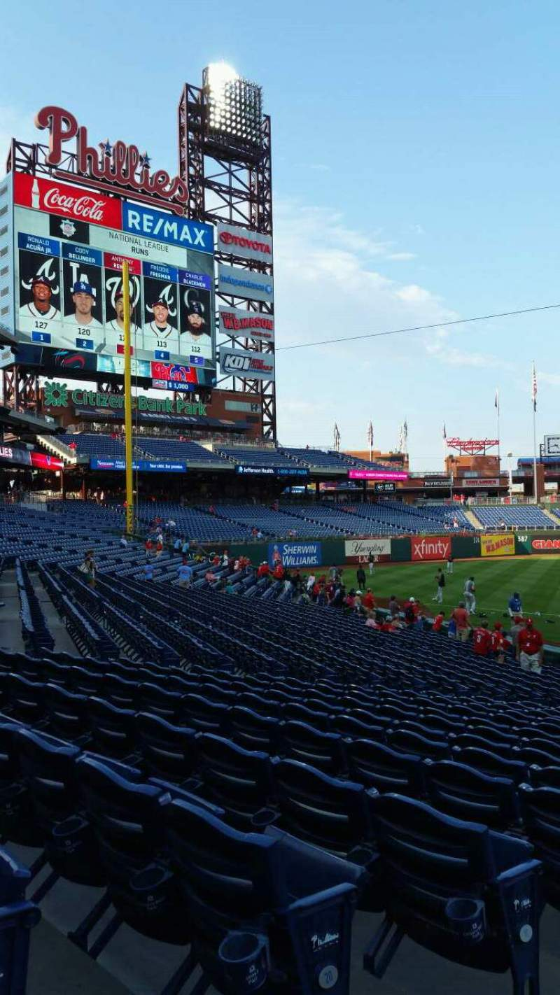 Seating view for Citizens Bank Park Section 132 Row 19 Seat 18