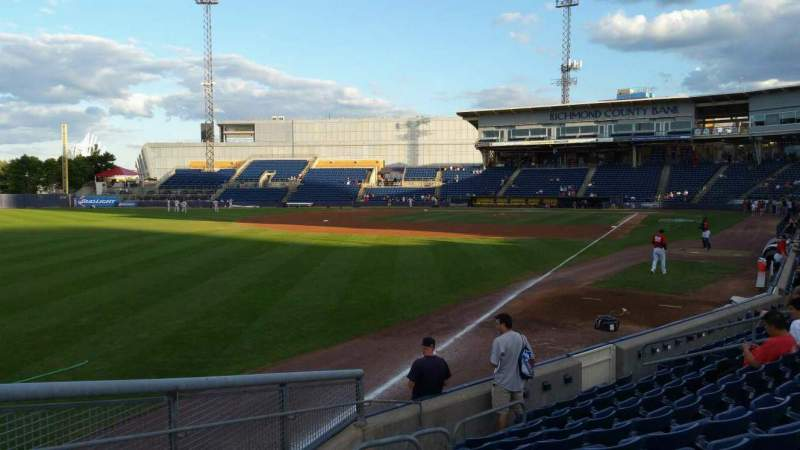 Seating view for Richmond County Bank Ballpark Section 1 Row J Seat 18