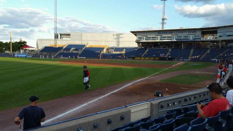 Seating view for Richmond County Bank Ballpark Section 1 Row F Seat 11