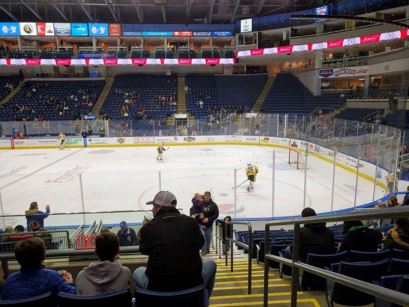 Seating view for Webster Bank Arena Section 106 Row J Seat 1