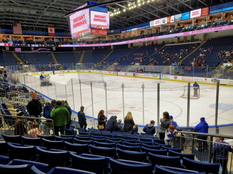 Seating view for Webster Bank Arena Section 108 Row H Seat 11