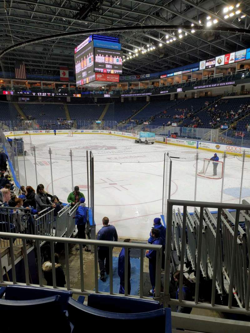 Seating view for Webster Bank Arena Section 108 Row H Seat 1