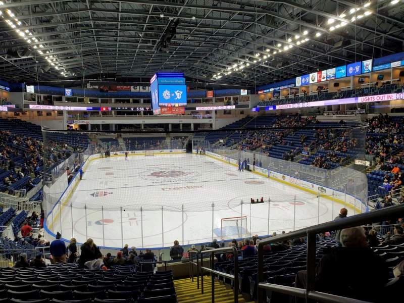 Seating view for Webster Bank Arena Section 119 Row S Seat 1