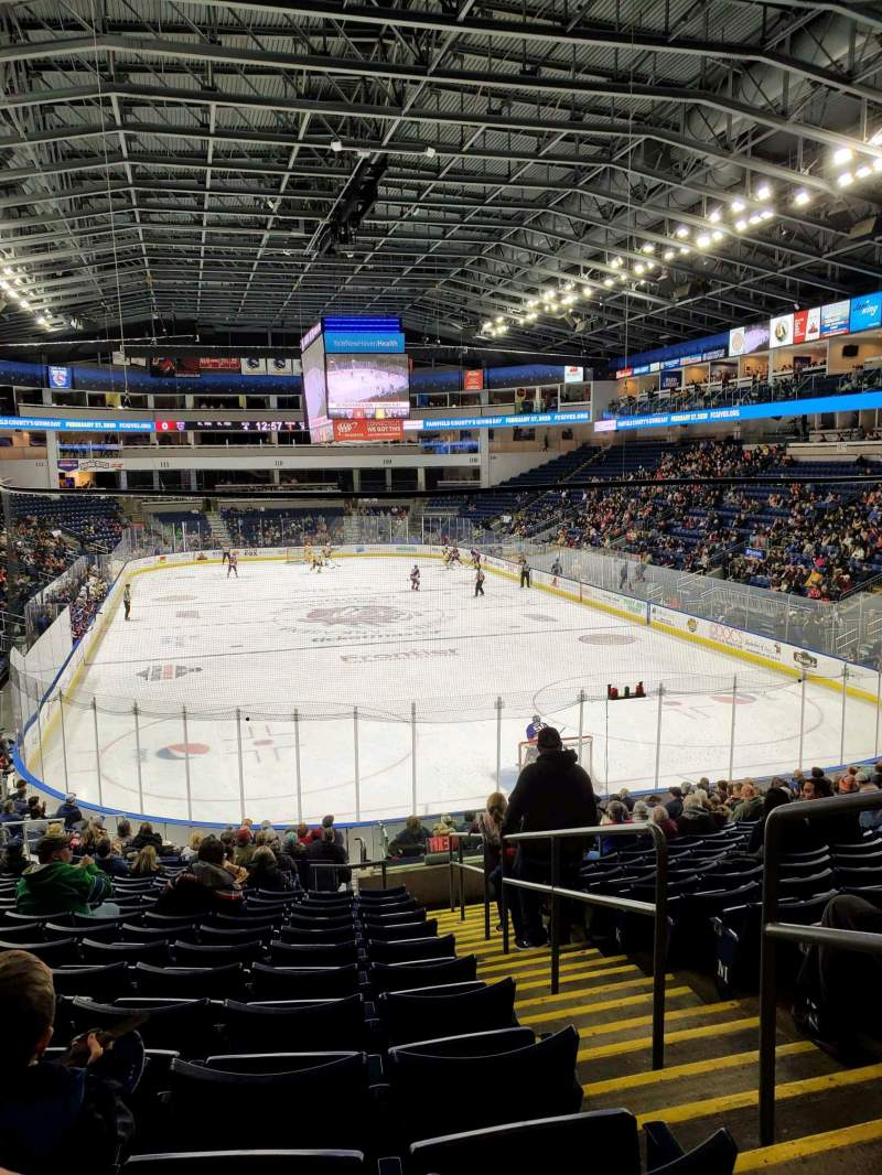 Seating view for Webster Bank Arena Section 119 Row S Seat 2