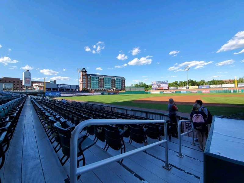 Seating view for Northeast Delta Dental Stadium Section 105 Row G Seat 21